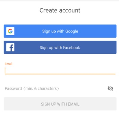 「Sign up with Google」ボタンをタップ
